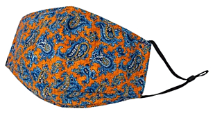 BLUE PAISLEY ON ORANGE ansiktsmask